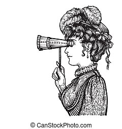 Vintage woman with binocular