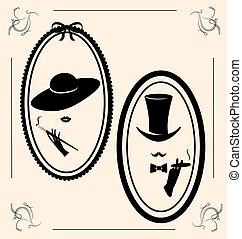 vintage woman's hat - on vintage background is outlines...