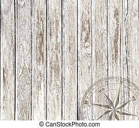 Vintage wood background with compass