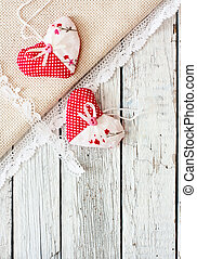 Vintage wood background with hearts