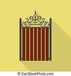 Vintage wood barrier icon, flat style