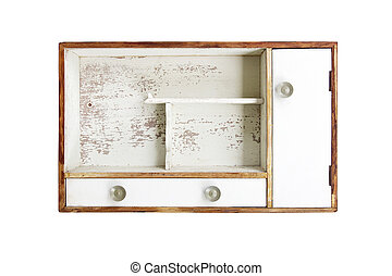 vintage wood case isolated on white