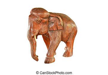Vintage wood elephant statue isolated on white