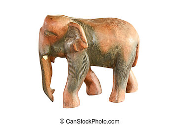 Vintage wood elephant statue