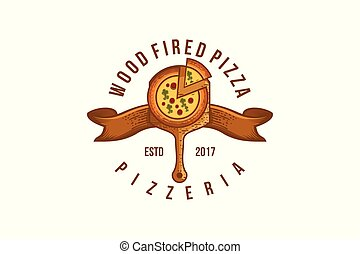 Vintage Wood Fired pizza Logo Designs Inspiration Isolated on White Background