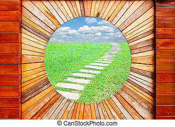 Vintage wood pattern texture with walkway and blue sky background