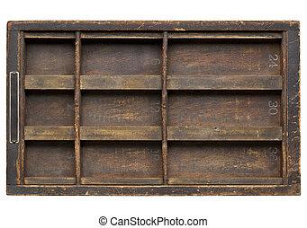 vintage wood  printer  (typesetter) drawer