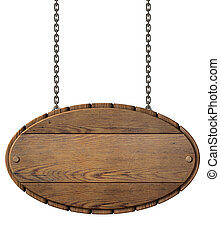 Vintage wood signboard for restaurant hanging on chains...