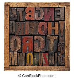 vintage wood type blocks