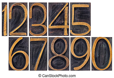 vintage wood type numbers isolated
