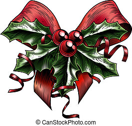 Vintage Woodcut Christmas Holly Bow - A vintage Christmas...