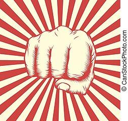 Vintage woodcut fist poster
