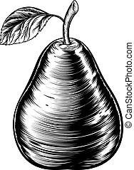 Vintage Woodcut Pear
