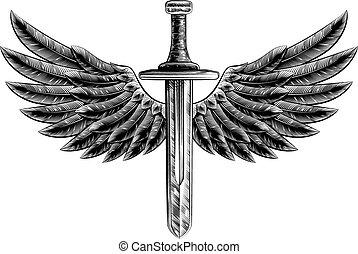 Vintage Woodcut Winged Sword