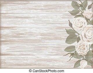 Vintage wooden background white rose bud - Vintage wooden...