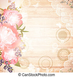 Vintage wooden background with floral decoration and lace...