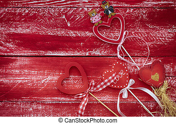 Vintage wooden background with hearts