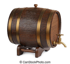 wooden barrel isolated - Vintage wooden barrel isolated on...