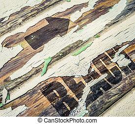 Vintage Wooden Beach Sign