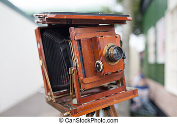 Vintage wooden bellows camera