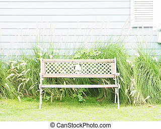 Vintage wooden bench at outdoors.