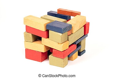 Vintage wooden blocks isolated