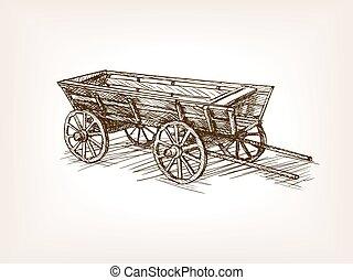 Vintage wooden cart hand drawn sketch vector - Vintage...