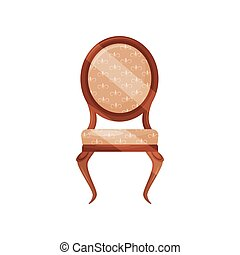 Vintage wooden chair with soft beige trim. Classic furniture for dinning room. Object for home interior. Flat vector icon