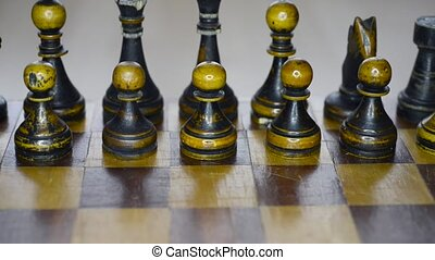 vintage wooden chess set up