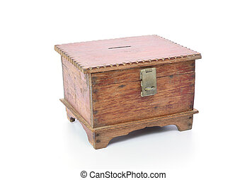 vintage wooden chest isolated on white background