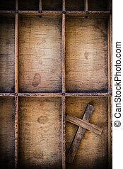 Vintage Wooden Cross in Drawer