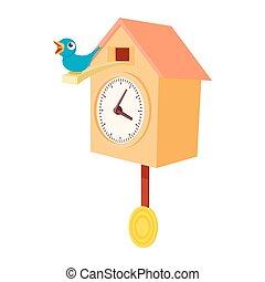 Vintage wooden cuckoo clock icon, cartoon style - Vintage...