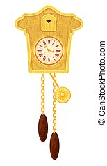 vintage wooden Cuckoo Clock - object isolated on white...