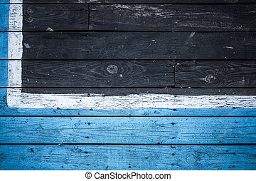 Vintage wooden dark wood, half painted in blue.