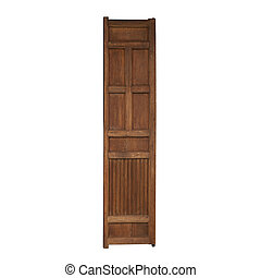 Vintage wooden door isolated on white background
