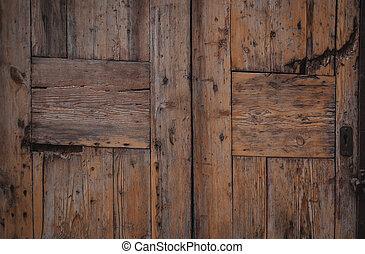 Vintage wooden door. Natural wood textured surface background