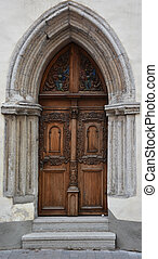 Vintage wooden door of the Tallinn city