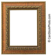 Vintage wooden frame isolated on white background