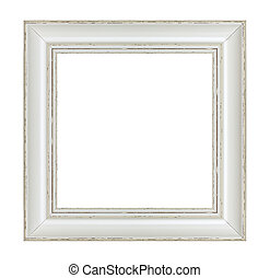 vintage wooden frames on white background