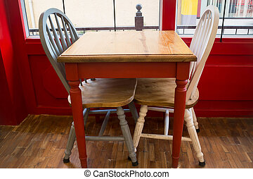 Vintage wooden kitchen chair and table