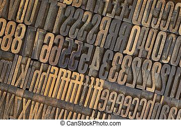 vintage wooden letterpress types background