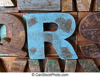 Vintage wooden letterpress types. Letter R.