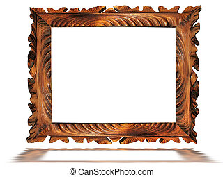 vintage wooden old frame isolated on white