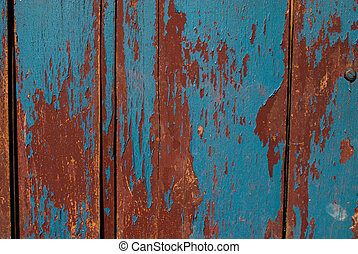 Vintage wooden texture with grunge paint close up. Useful as background for design works.