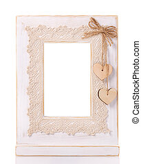 wooden picture frame isolated on white background with cut out blank space