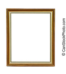 Vintage wooden picture frame on white