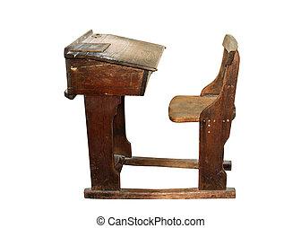 Vintage wooden school desk. A 3d rendering of an array of ...