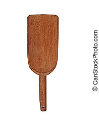vintage wooden flour or sugar shovel isolated over white, clipping path