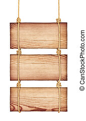 vintage wooden signs on the rope on an isolated white background