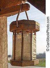 Vintage wooden street lamp